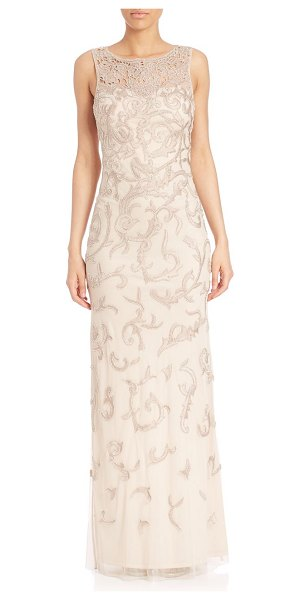 Aidan Mattox beaded embroidery gown in champagne - Striking bead embellished gown for a feminine flare....