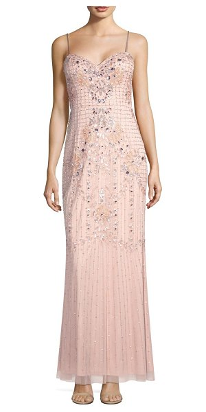 Aidan Mattox beaded floral gown in blush - Sleeveless gown with radiant floral beading Sweetheart...