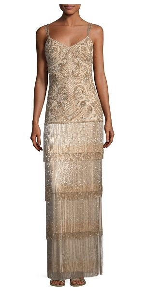AIDAN MATTOX Beaded Fringe Column Tiered Long Evening Gown - Aidan Mattox beaded fringe long evening gown. Approx....