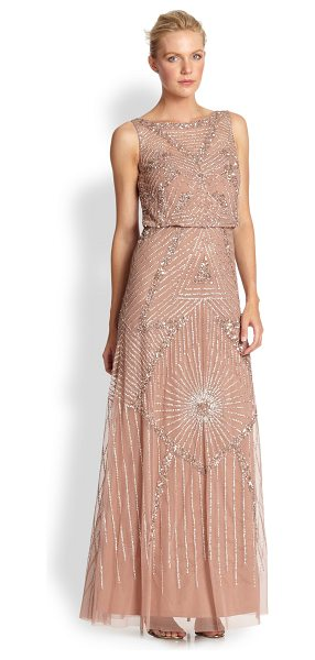 Aidan Mattox Beaded gown in ashrose - Strategically placed sequins deliver a sense of glamour...