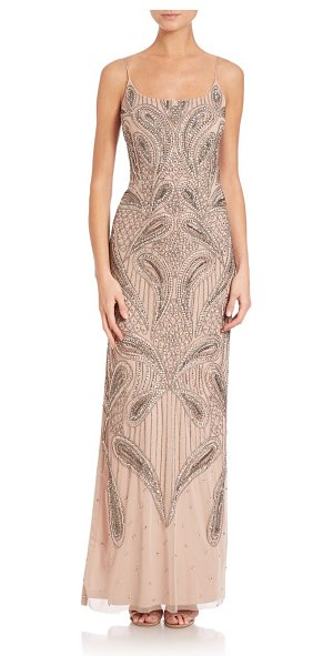 AIDAN MATTOX Beaded gown in lightmink - Elegant beaded column designScoopneckSpaghetti...