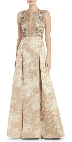 AIDAN MATTOX beaded jacquard ballgown - Dazzle under the limelight in this intricate evening...