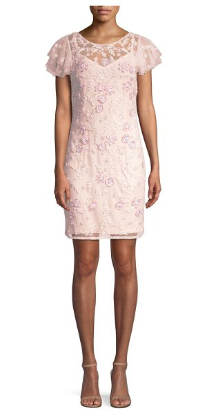 Aidan Mattox beaded lace cocktail dress in pink blush - Lace cocktail dress with allover beaded embellishments....