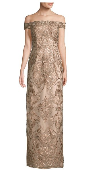 Aidan Mattox beaded lace gown in light mink