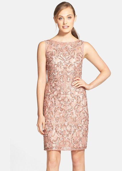 Aidan Mattox beaded lace sheath dress in pink - Sequins and beaded clusters give beautiful...