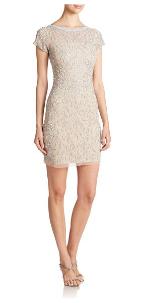 Aidan Mattox Beaded leaf cocktail dress in nude-blue - Petals and leaves of shimmering embellishment sweep upon...