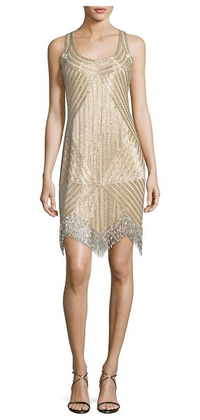 Aidan Mattox Beaded Mesh Dress in light gold - Beaded light gold polyester mesh dress by Aidan Mattox....