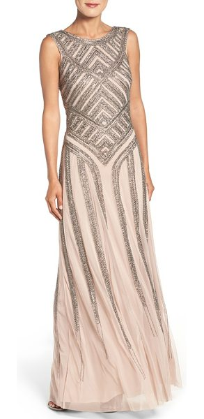 Aidan Mattox beaded mesh gown in light mink - Intricate metallic beadwork accentuates the fitted...