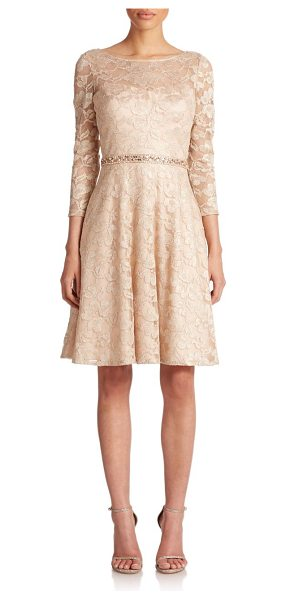 Aidan Mattox Beaded metallic lace dress in light-gold - Subtly shimmering metallic floral lace, cut in an A-line...
