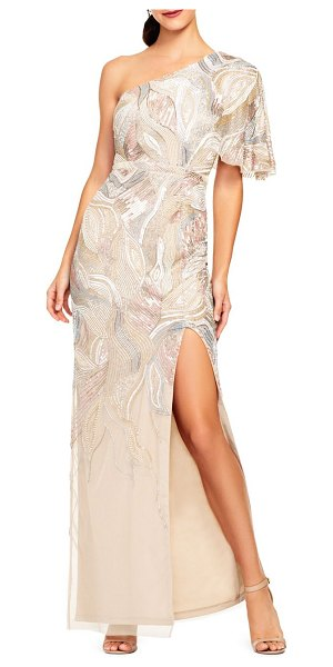 Aidan Mattox beaded one-shoulder gown in nude