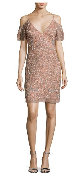 Aidan Mattox Beaded Paisley Cold-Shoulder Cocktail Dress in rose gold - EXCLUSIVELY AT NEIMAN MARCUS Aidan Mattox mesh cocktail...