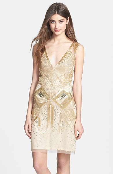 Aidan Mattox beaded sleeveless sheath dress in light gold - Golden and gunmetal embellishments bring the glamour of...
