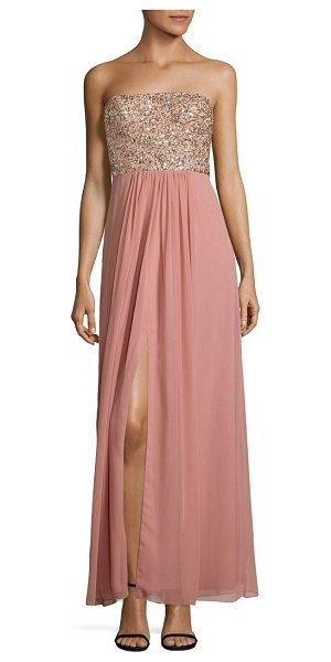 Aidan Mattox beaded strapless gown in rose - Flowing strapless gown with sparkling embellished...