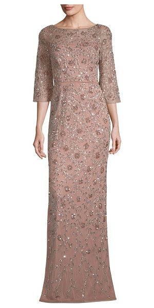 Aidan Mattox beaded three-quarter-sleeve gown in rose gold - Eye-catching gown accentuated with embellished beads....