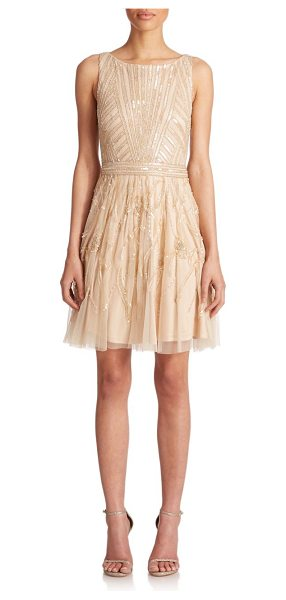 Aidan Mattox Beaded tulle dress in light-gold - Intricate beading lends delicate shimmer to this soft,...