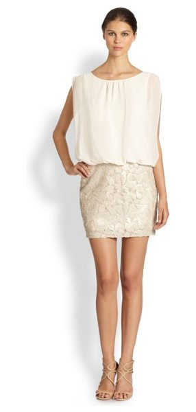 Aidan Mattox Blouson cocktail dress in champagne - The matte chiffon top of this cocktail dress has an even...