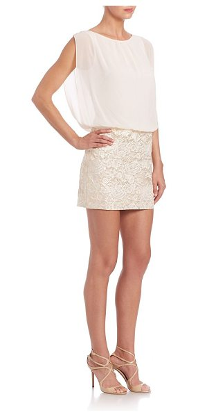 Aidan Mattox blouson floral dress in ivory-gold multi - Metallic floral skirt accents chic blouson bodice....