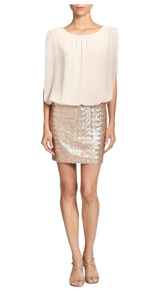 Aidan Mattox blouson sequined dress in champagne - An airy chiffon top with a blouson finish meets a...