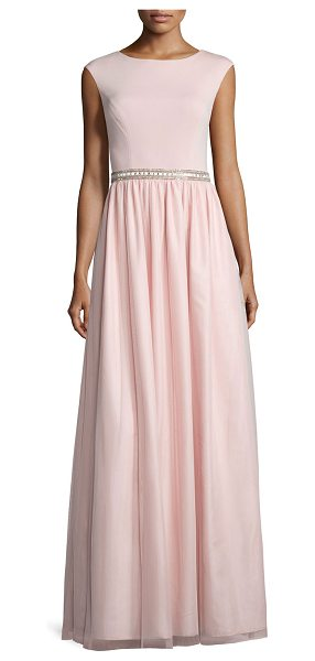 Aidan Mattox Cap-Sleeve Jersey Combo Gown in petal - Aidan Mattox Bridesmaid gown combines jersey top and...