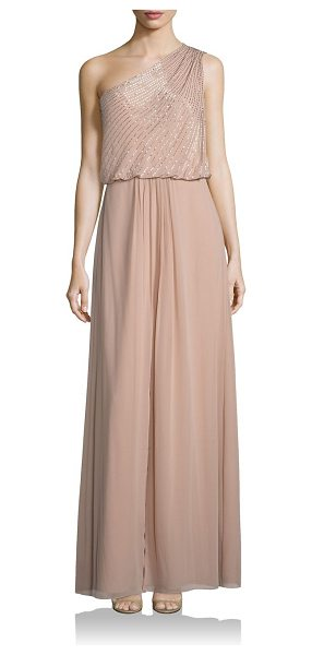 Aidan Mattox embellished one-shoulder bridesmaid gown in light mink - Delicately designed gown with striking embellishments....