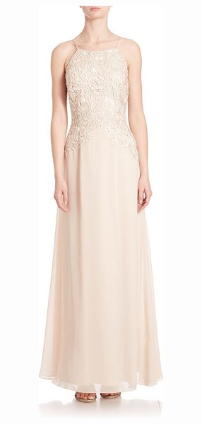 Aidan Mattox lace halter bridesmaid gown in champagne - Lace bodice and chiffon skirt enhance this gown. Halter...