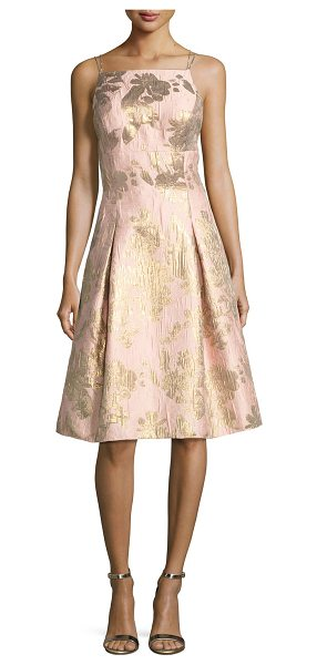 Aidan Mattox Brocade Metallic Strappy-Back Cocktail Dress in petal