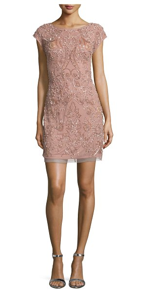 "Aidan Mattox Cap-Sleeve Beaded Cocktail Dress in rose gold - Aidan Mattox beaded mesh cocktail dress. Approx. 19"" to..."