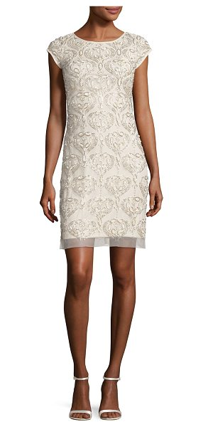 Aidan Mattox Cap-Sleeve Beaded Damask Cocktail Dress in champagne