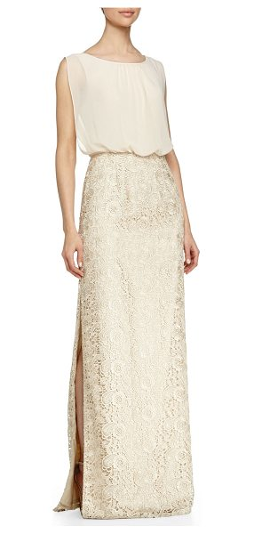 Aidan Mattox Chiffon-top lace-skirt gown in champagne