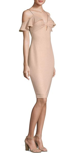 Aidan Mattox cold-shoulder sheath dress in champagne - Cold shoulder dress with ruffle detailing. Cold...