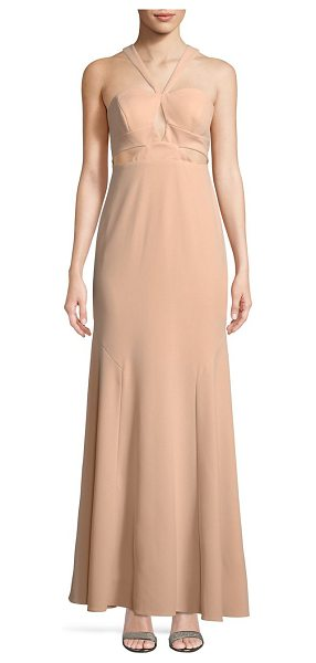 Aidan Mattox halter cutout dress in blush - On-trend long flare dress in a cutout design. Halter...