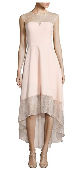 Aidan Mattox crepe & lace cocktail dress in blush - Blush lace gown for a charismatic appeal. Illusion...