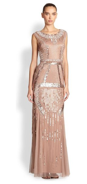 AIDAN MATTOX Deco-print beaded gown in rosegold - Art nouveau inspired the abstract beading of this...