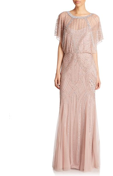 Aidan Mattox Dolman-sleeve beaded godet gown in rose-gold
