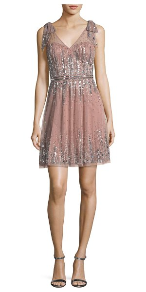 AIDAN MATTOX Embellished A-Line Mini Dress - Aidan Mattox embellished chiffon cocktail dress. Deep V...