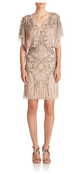 AIDAN MATTOX Embellished blouson dress in nude - Enchanting beading in bewitching designs adds a dose of...