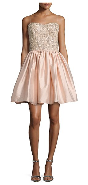 Aidan Mattox Embellished-Bodice Party Dress in blush - Aidan Mattox woven party dress. Subtle sweetheart...