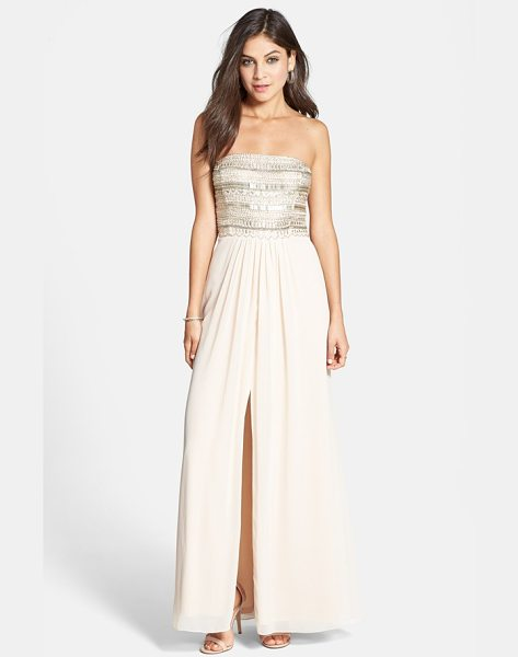 Aidan Mattox embellished bodice strapless gown in blush - Glittering beads and sparkling crystals dazzle on the...