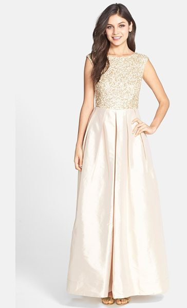 Aidan Mattox embellished bodice taffeta gown in light gold - A sequin-coated bodice adds icy shimmer to a luminous...
