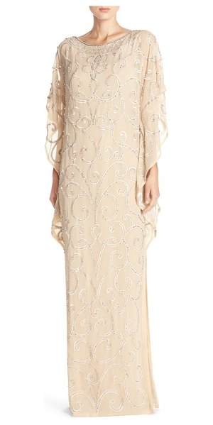 Aidan Mattox embellished chiffon gown in light gold - Glinting embroidery scrolls across a voluminous gown...