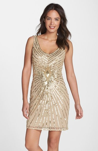 Aidan Mattox embellished chiffon sheath dress in champagne - Bursts of tonal sequins and beads radiate from the...