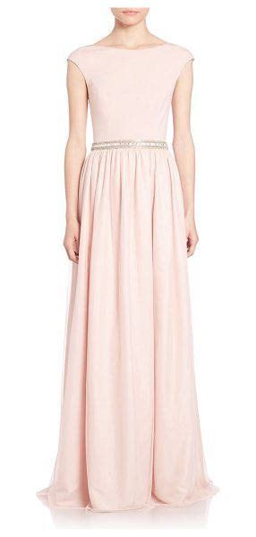 AIDAN MATTOX Embellished combo gown - Elegant gown with a sparkling beaded...