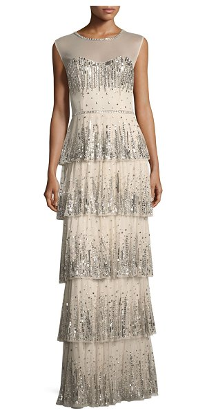 Aidan Mattox Embellished Five-Tier Long Evening Gown in champagne