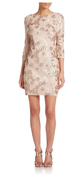 Aidan Mattox Embellished floral lace dress in champagne - Sequin-dusted floral lace with three-quarter sleeves and...