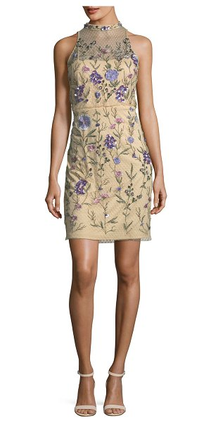 AIDAN MATTOX Embellished Floral Lace Mock-Neck Mini Dress in nude - EXCLUSIVELY AT NEIMAN MARCUS Aidan Mattox mini dress...