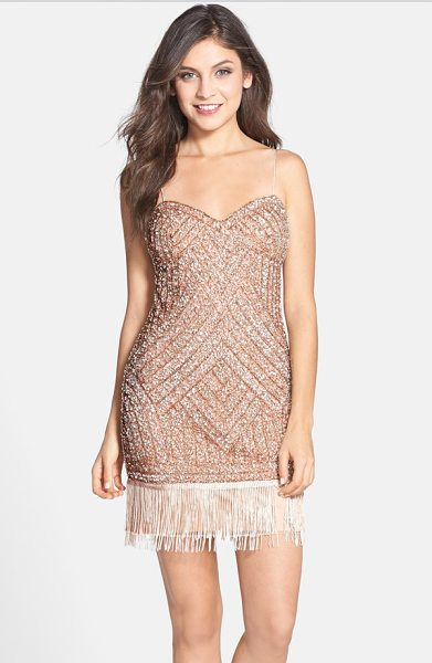 Aidan Mattox embellished fringe dress in blush - Pencil-thin spaghetti straps, a twinkling layer of...