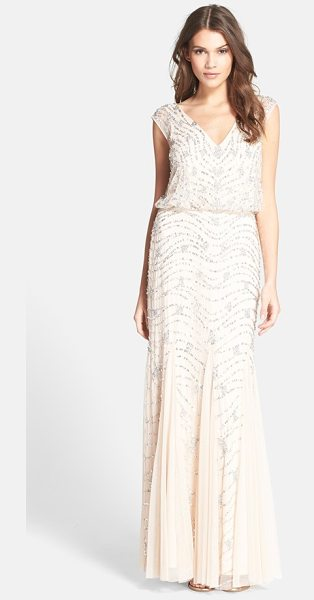 Aidan Mattox embellished lace blouson gown in beige - This comfortably shaped lace gown is stippled with...