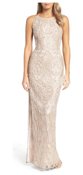 AIDAN MATTOX embellished lace column gown - Lavish embellishments add glamorous sparkle to a lithe...