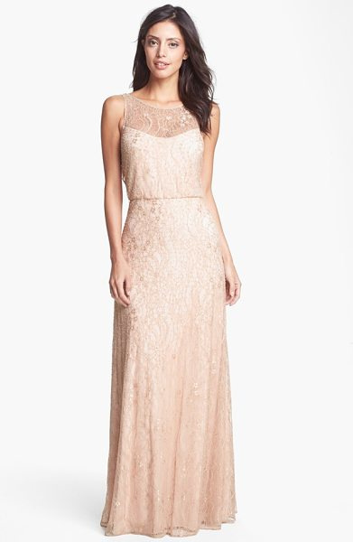 Aidan Mattox embellished lace gown in blush - Feathery lace aglow in soft beaded sparkle overlays the...