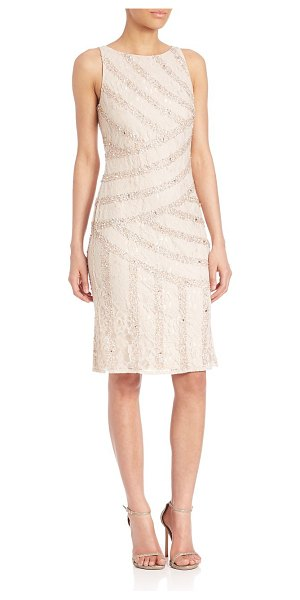 AIDAN MATTOX embellished lace sheath dress in champagne - Gorgeous sheath dress with shiny bead embellishments....